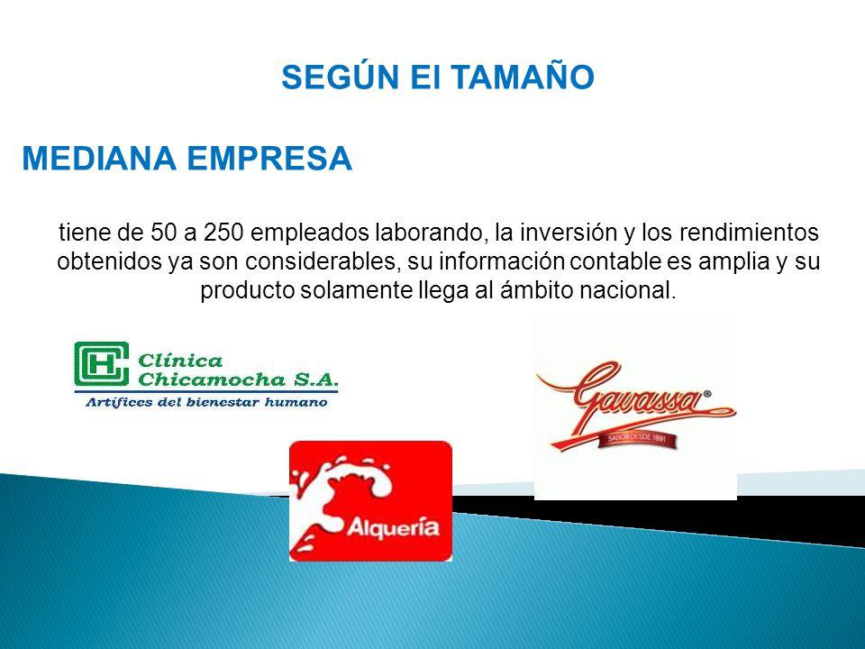 SEGÚN El TAMAÑO MEDIANA EMPRESA tiene de 50 a 250 empleados laborando, la inversión y los rendimientos obtenidos ya son considerables, su información contable es amplia y su producto solamente llega al ámbito nacional.
