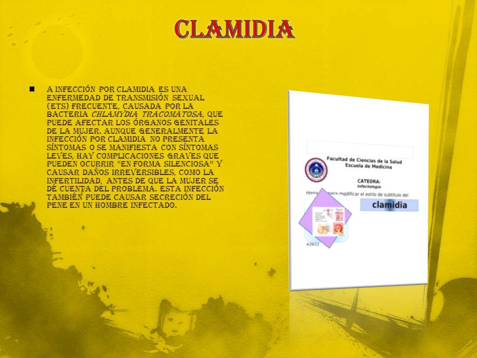 a infección por clamidia es una enfermedad de transmisión sexual (ETS) frecuente, causada por la bacteria Chlamydia tracomatosa, que puede afectar los órganos genitales de la mujer.