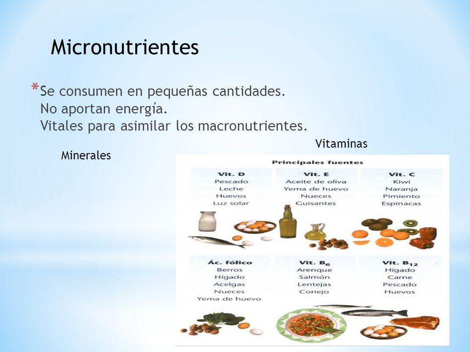 * Se consumen en pequeñas cantidades. No aportan energía. Vitales para asimilar los macronutrientes. Vitaminas Minerales Micronutrientes