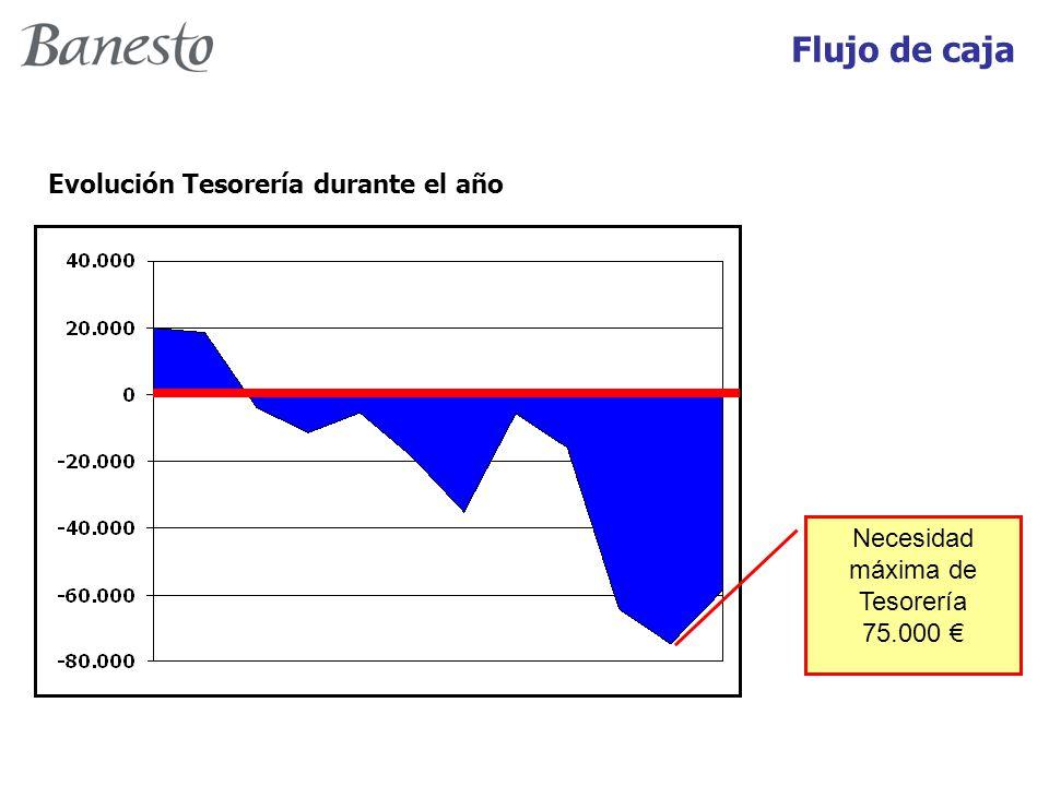 Evolución Tesorería durante el año Necesidad máxima de Tesorería 75.000 € Flujo de caja
