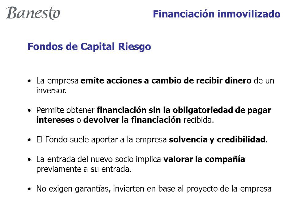 Financiación inmovilizado Fondos de Capital Riesgo La empresa emite acciones a cambio de recibir dinero de un inversor.