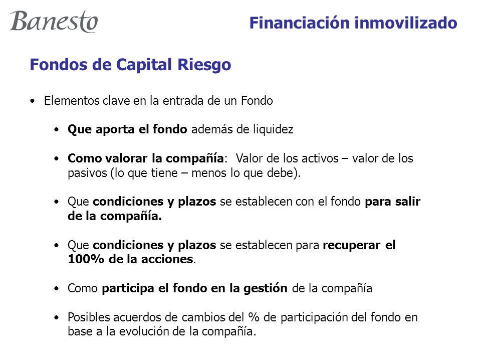 Financiación inmovilizado Fondos de Capital Riesgo Elementos clave en la entrada de un Fondo Que aporta el fondo además de liquidez Como valorar la compañía: Valor de los activos – valor de los pasivos (lo que tiene – menos lo que debe).
