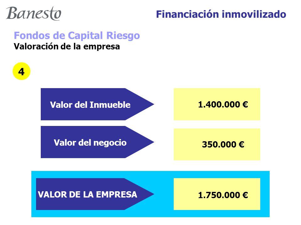Financiación inmovilizado Fondos de Capital Riesgo Valoración de la empresa 4 1.400.000 € Valor del Inmueble Valor del negocio 350.000 € VALOR DE LA EMPRESA 1.750.000 €