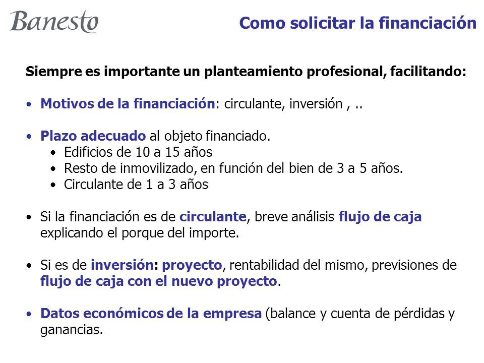 Como solicitar la financiación Siempre es importante un planteamiento profesional, facilitando: Motivos de la financiación: circulante, inversión,..