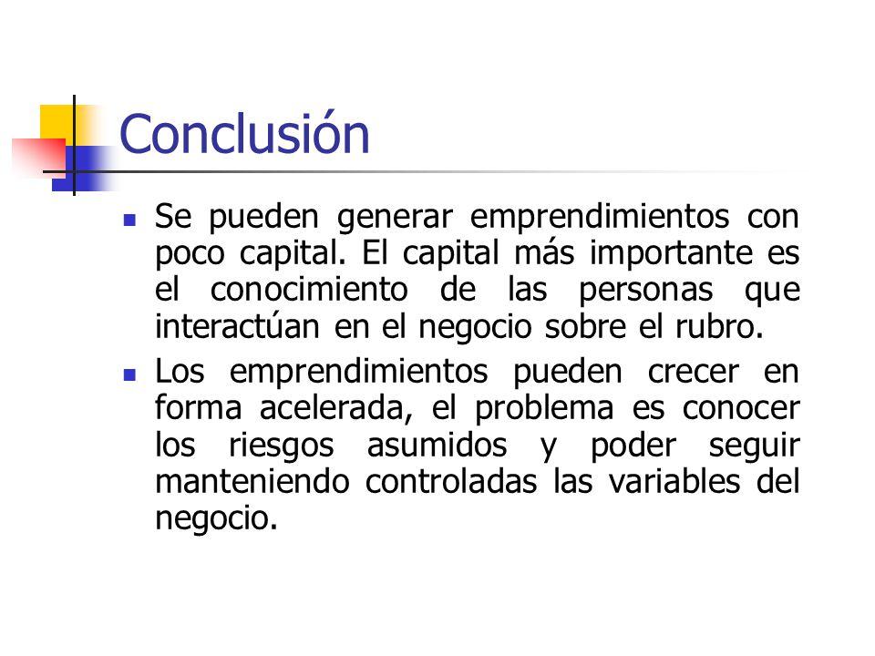 Conclusión Se pueden generar emprendimientos con poco capital.