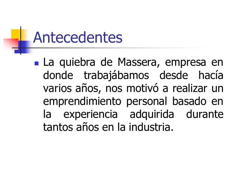 Antecedentes La quiebra de Massera, empresa en donde trabajábamos desde hacía varios años, nos motivó a realizar un emprendimiento personal basado en la experiencia adquirida durante tantos años en la industria.