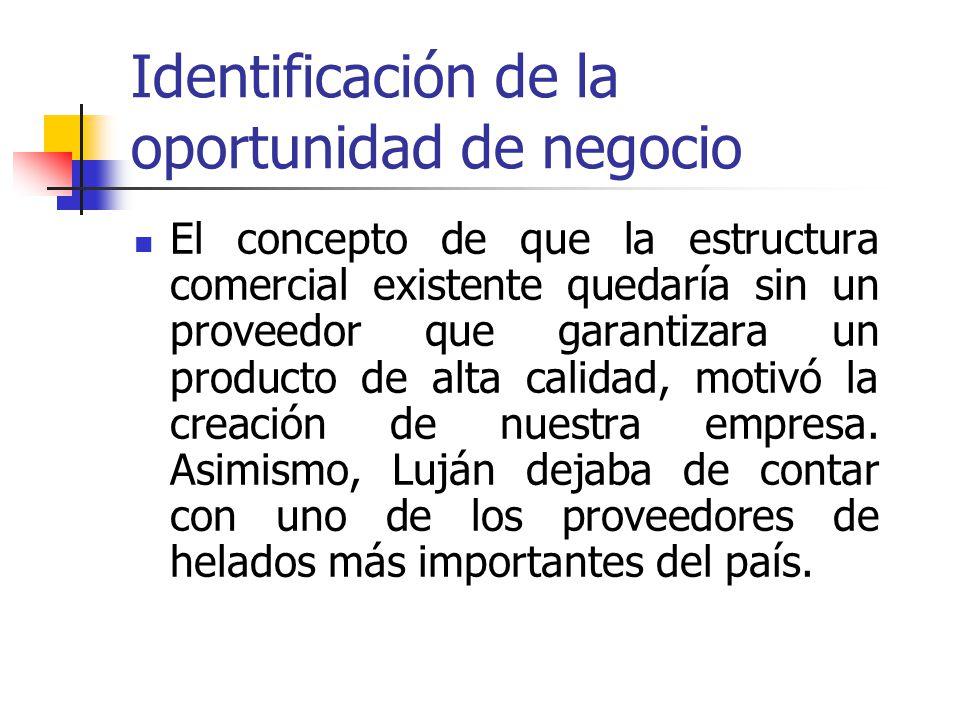 Identificación de la oportunidad de negocio El concepto de que la estructura comercial existente quedaría sin un proveedor que garantizara un producto de alta calidad, motivó la creación de nuestra empresa.