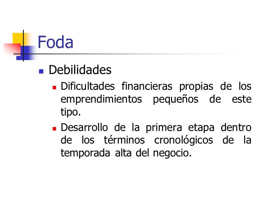 Foda Debilidades Dificultades financieras propias de los emprendimientos pequeños de este tipo.
