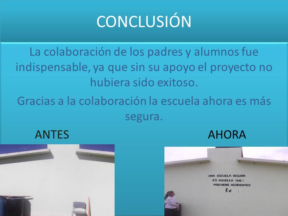 CONCLUSIÓN La colaboración de los padres y alumnos fue indispensable, ya que sin su apoyo el proyecto no hubiera sido exitoso. Gracias a la colaboraci