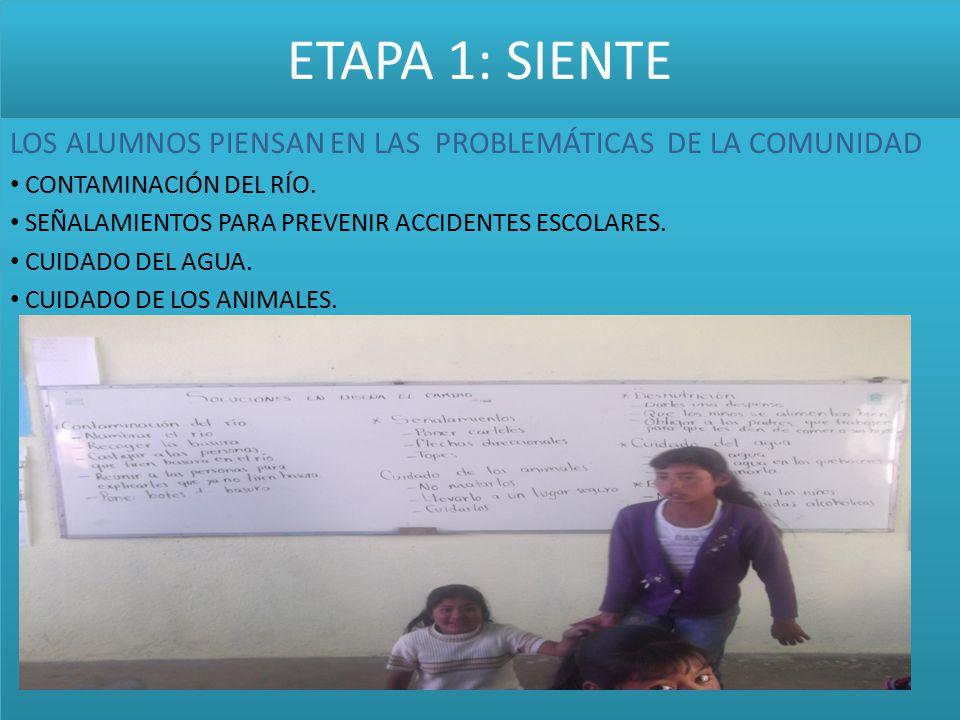 ETAPA 1: SIENTE LOS ALUMNOS PIENSAN EN LAS PROBLEMÁTICAS DE LA COMUNIDAD CONTAMINACIÓN DEL RÍO. SEÑALAMIENTOS PARA PREVENIR ACCIDENTES ESCOLARES. CUID