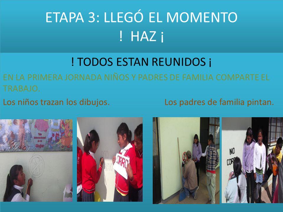 ETAPA 3: LLEGÓ EL MOMENTO ! HAZ ¡ ! TODOS ESTAN REUNIDOS ¡ EN LA PRIMERA JORNADA NIÑOS Y PADRES DE FAMILIA COMPARTE EL TRABAJO. Los niños trazan los d