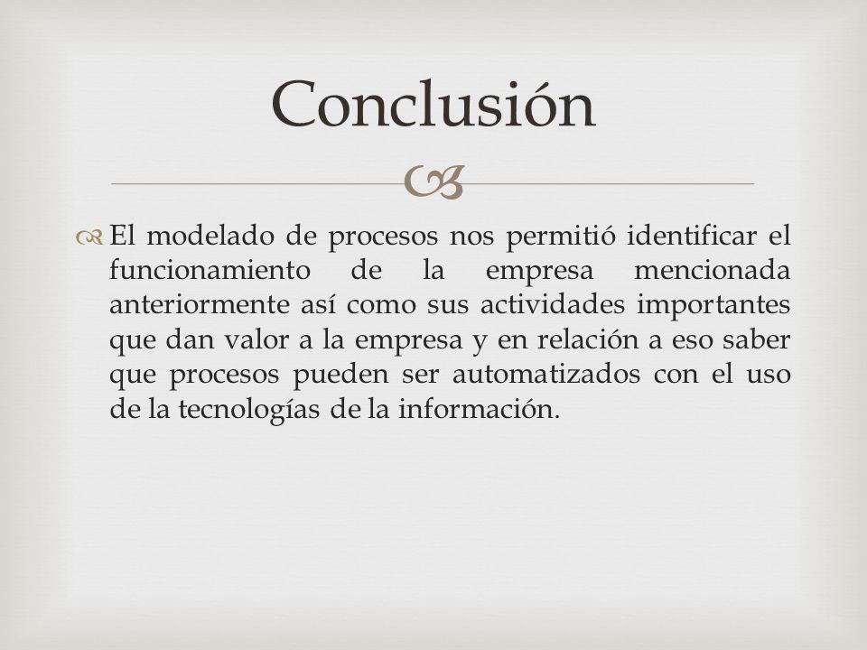   El modelado de procesos nos permitió identificar el funcionamiento de la empresa mencionada anteriormente así como sus actividades importantes que