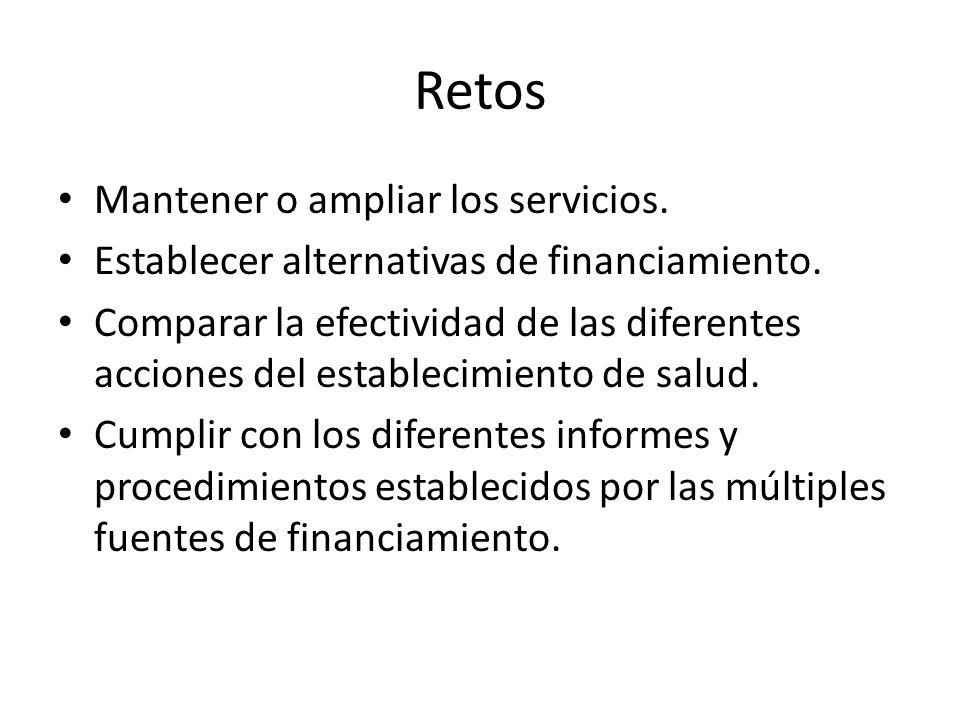 Retos Mantener o ampliar los servicios.Establecer alternativas de financiamiento.