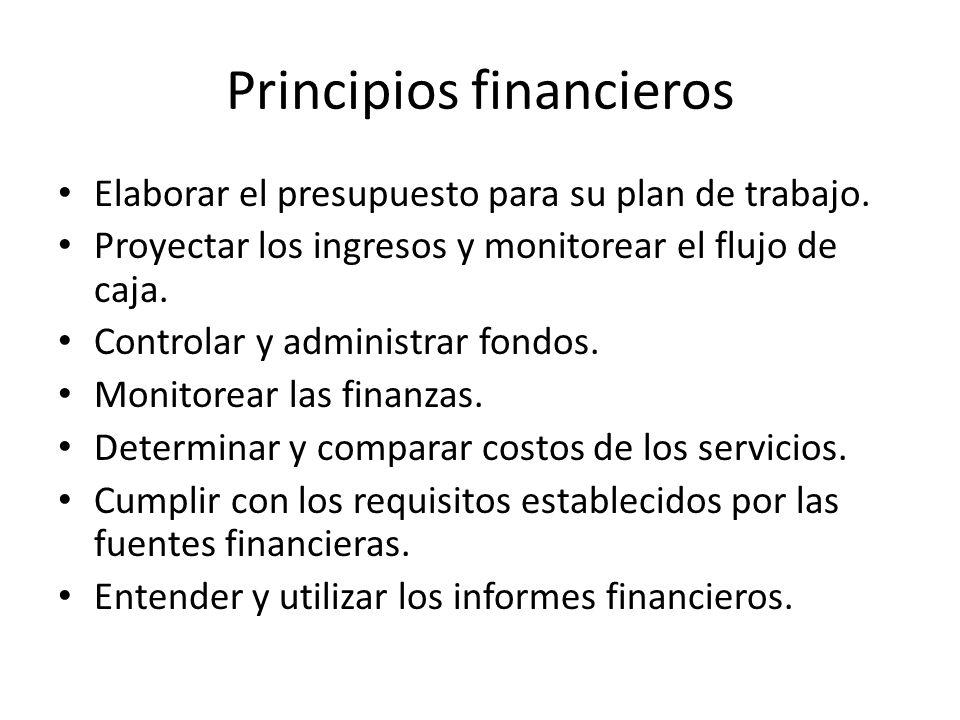 Principios financieros Elaborar el presupuesto para su plan de trabajo.