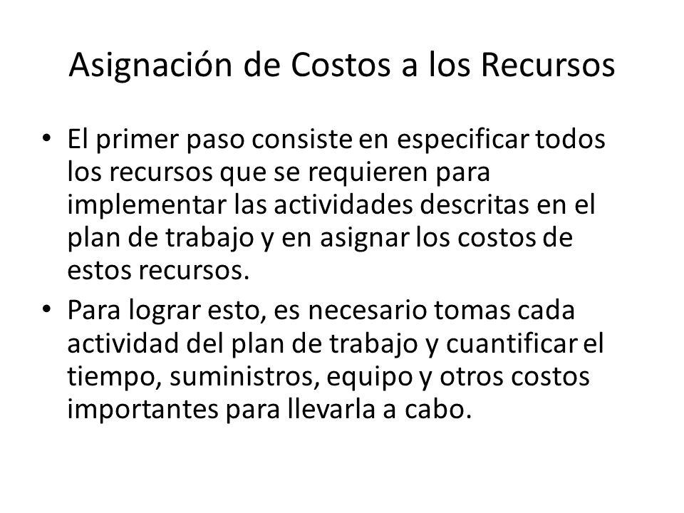 Asignación de Costos a los Recursos El primer paso consiste en especificar todos los recursos que se requieren para implementar las actividades descritas en el plan de trabajo y en asignar los costos de estos recursos.