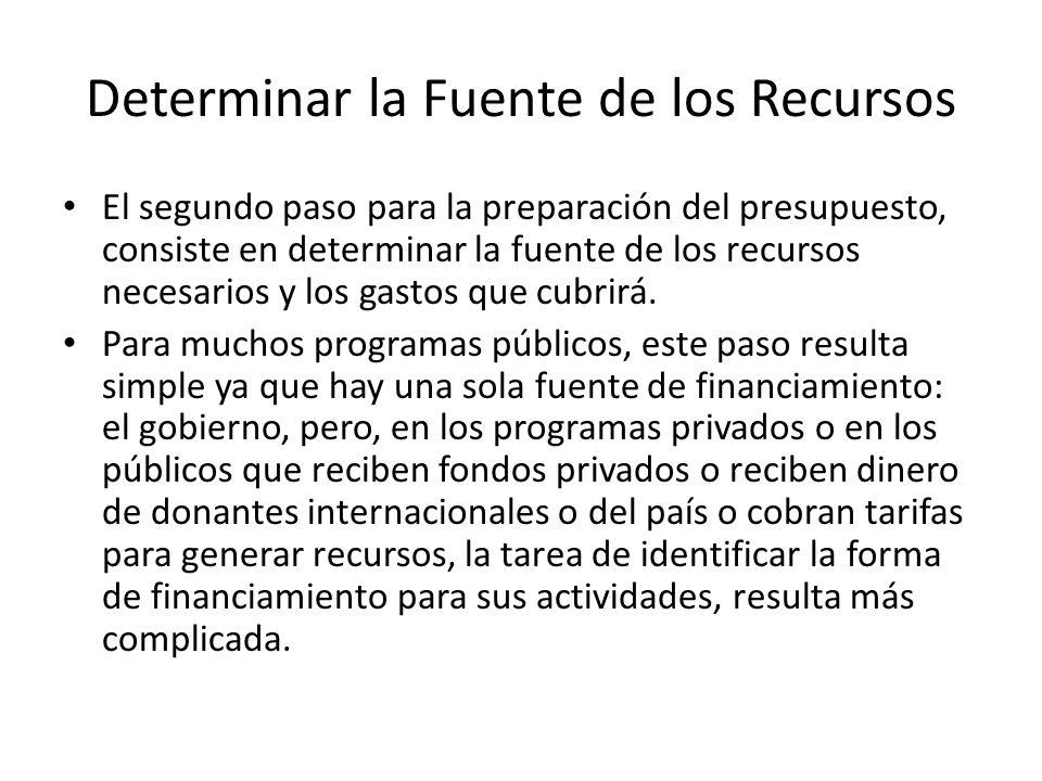 Determinar la Fuente de los Recursos El segundo paso para la preparación del presupuesto, consiste en determinar la fuente de los recursos necesarios y los gastos que cubrirá.