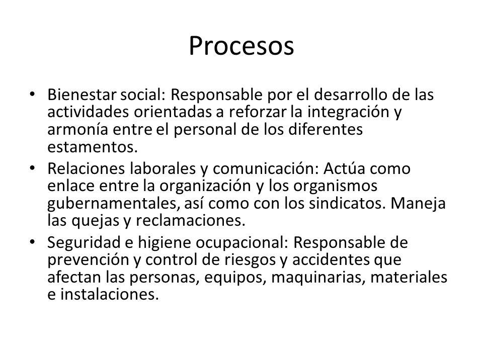 Procesos Bienestar social: Responsable por el desarrollo de las actividades orientadas a reforzar la integración y armonía entre el personal de los diferentes estamentos.