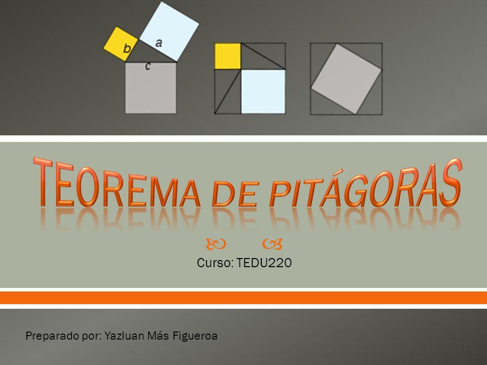  Estudiaremos el Teorema de Pitágoras para investigar los triángulos, rectángulos, sus medidas y areas.