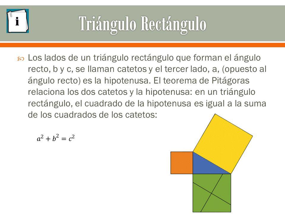  Los lados de un triángulo rectángulo que forman el ángulo recto, b y c, se llaman catetos y el tercer lado, a, (opuesto al ángulo recto) es la hipotenusa.
