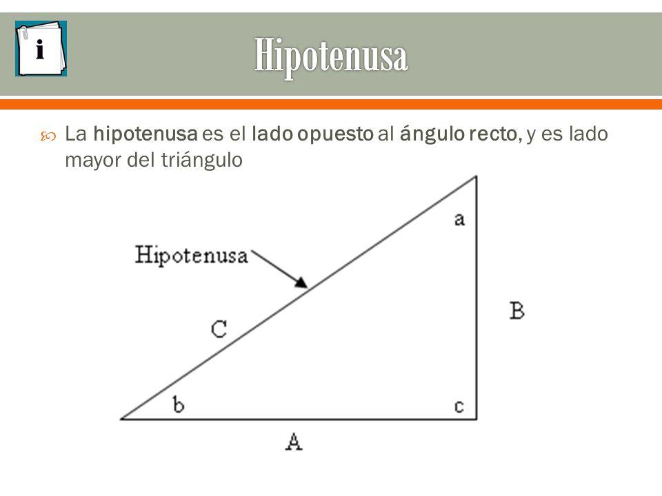  La hipotenusa es el lado opuesto al ángulo recto, y es lado mayor del triángulo