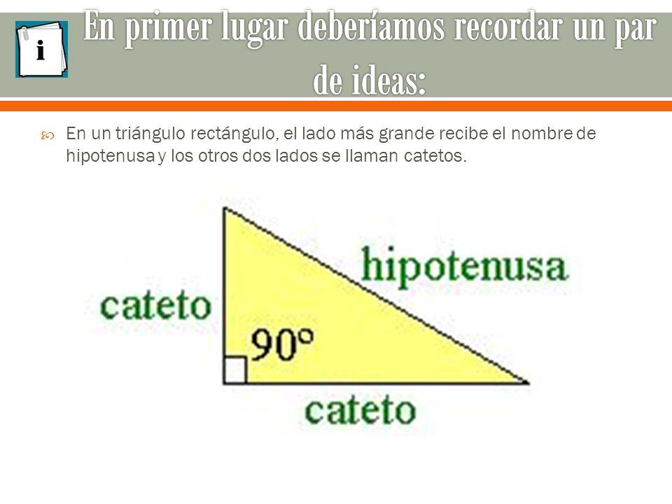  En un triángulo rectángulo, el lado más grande recibe el nombre de hipotenusa y los otros dos lados se llaman catetos.