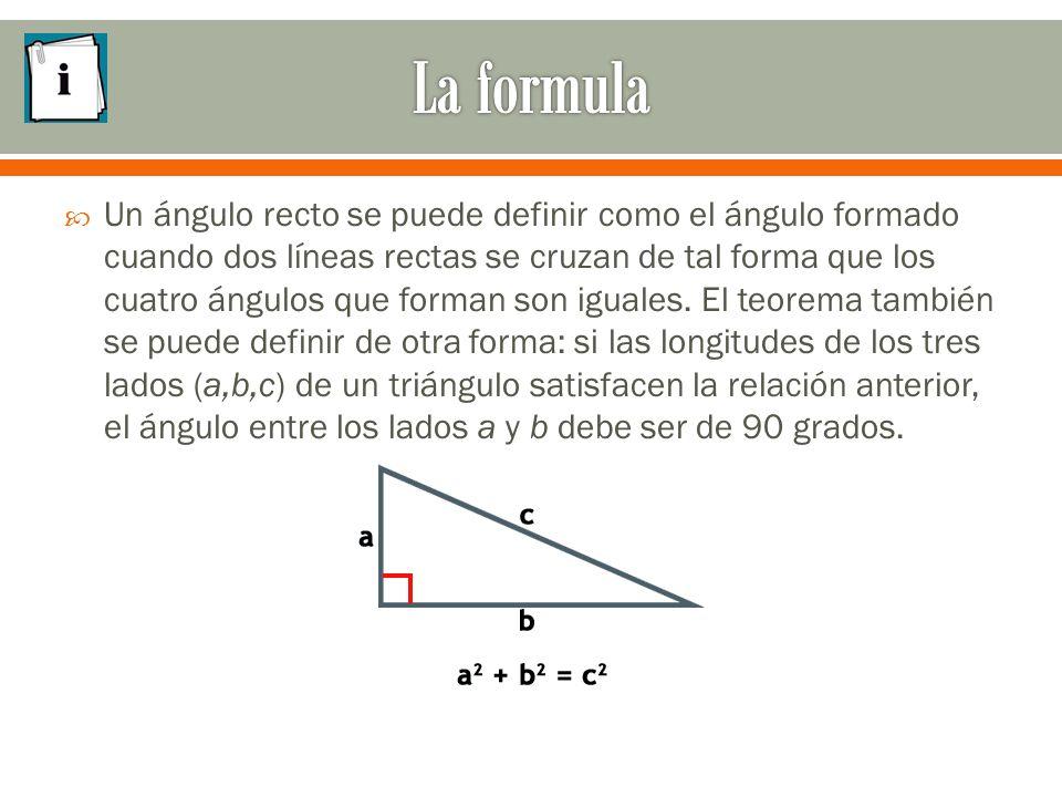  Un ángulo recto se puede definir como el ángulo formado cuando dos líneas rectas se cruzan de tal forma que los cuatro ángulos que forman son iguales.