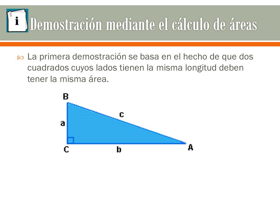  La primera demostración se basa en el hecho de que dos cuadrados cuyos lados tienen la misma longitud deben tener la misma área.