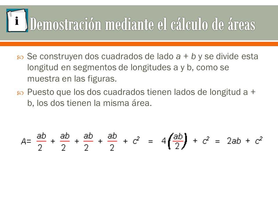  Se construyen dos cuadrados de lado a + b y se divide esta longitud en segmentos de longitudes a y b, como se muestra en las figuras.