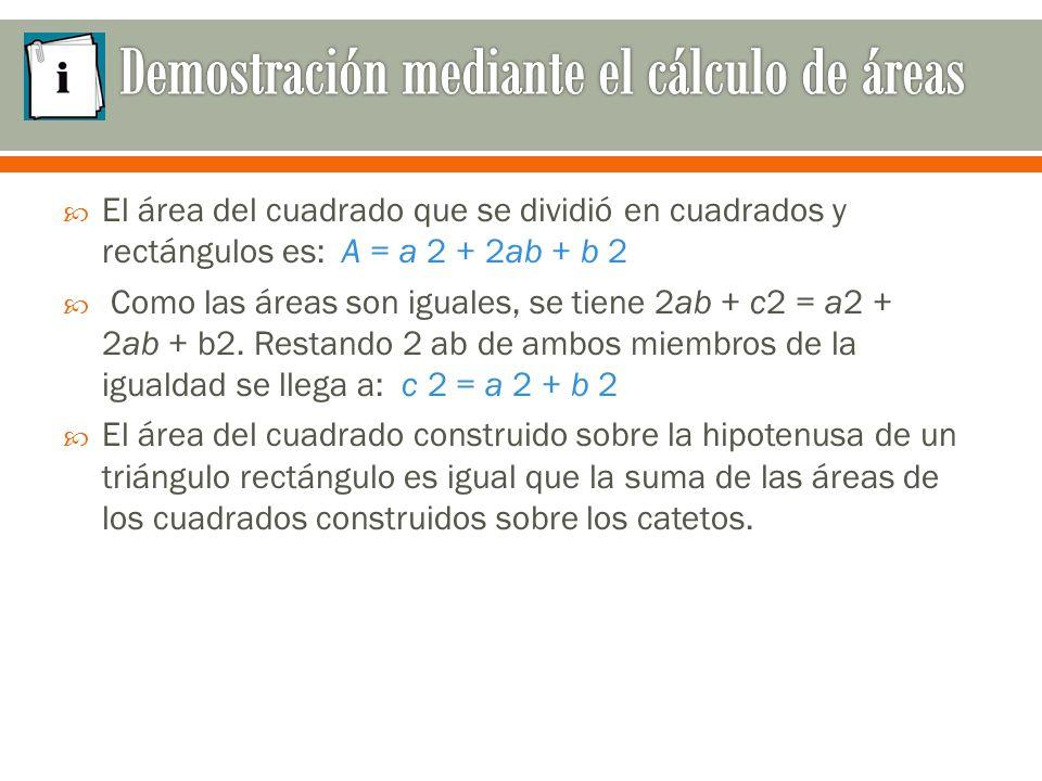  El área del cuadrado que se dividió en cuadrados y rectángulos es: A = a 2 + 2ab + b 2  Como las áreas son iguales, se tiene 2ab + c2 = a2 + 2ab + b2.
