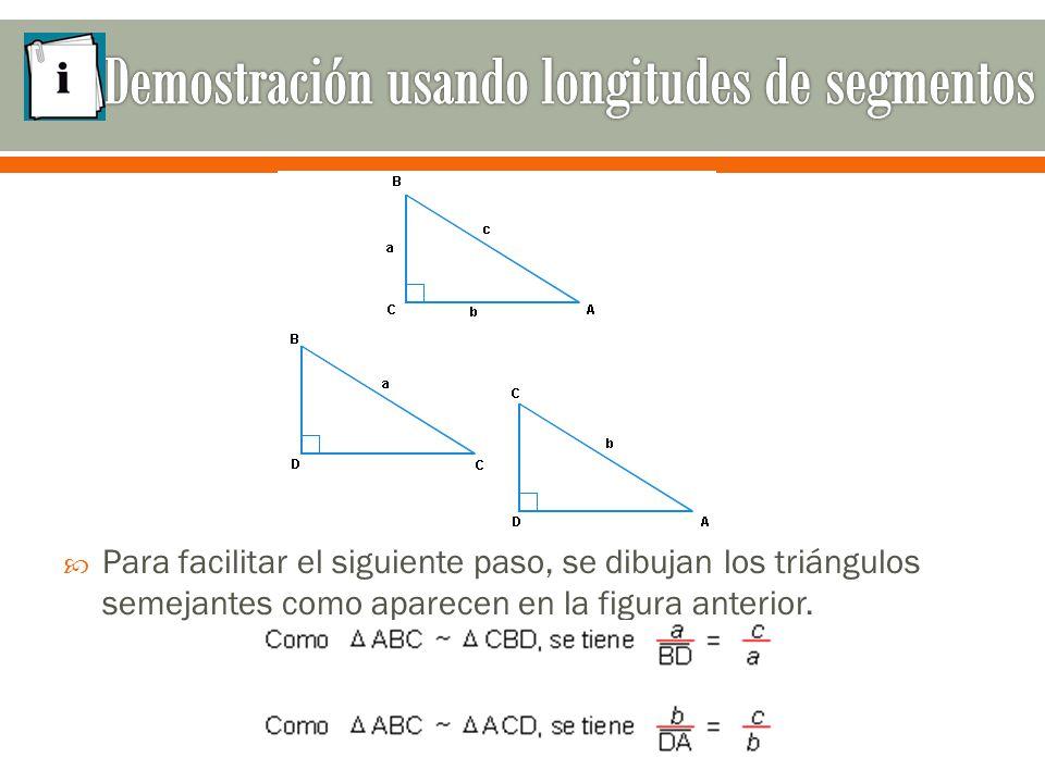  Para facilitar el siguiente paso, se dibujan los triángulos semejantes como aparecen en la figura anterior.