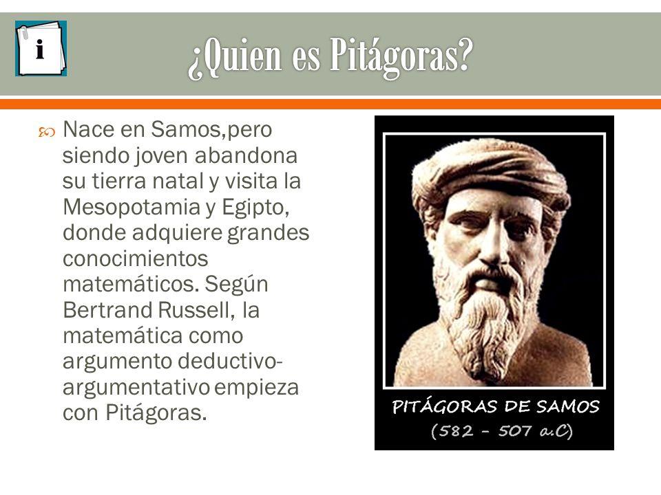  Nace en Samos,pero siendo joven abandona su tierra natal y visita la Mesopotamia y Egipto, donde adquiere grandes conocimientos matemáticos.