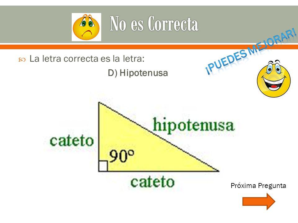  La letra correcta es la letra: D) Hipotenusa Próxima Pregunta
