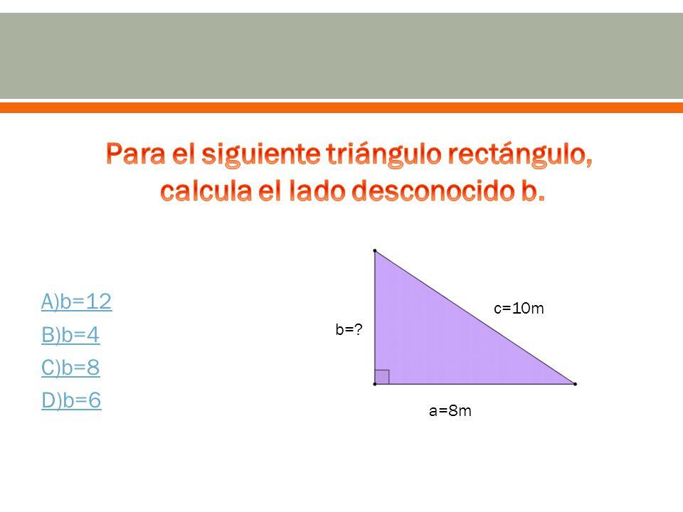A)b=12 B)b=4 C)b=8 D)b=6 c=10m a=8m b=