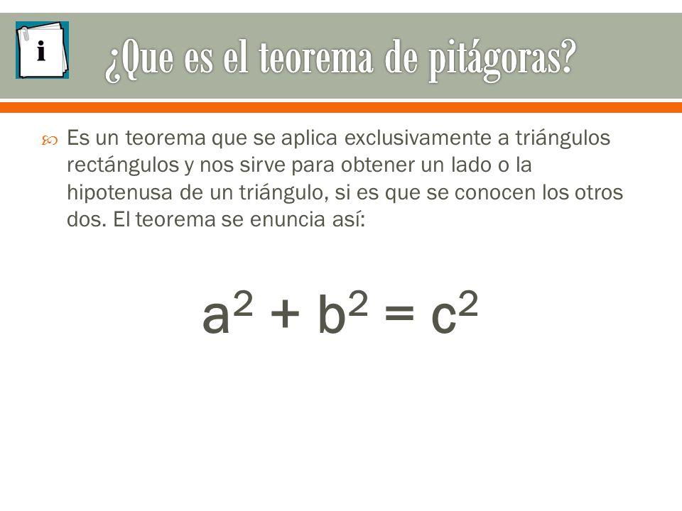  Es un teorema que se aplica exclusivamente a triángulos rectángulos y nos sirve para obtener un lado o la hipotenusa de un triángulo, si es que se conocen los otros dos.