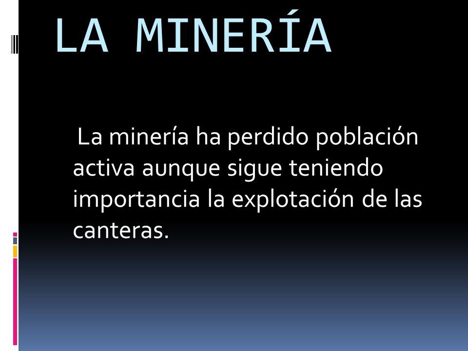 LA MINERÍA La minería ha perdido población activa aunque sigue teniendo importancia la explotación de las canteras.