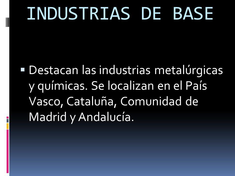 INDUSTRIAS DE BASE  Destacan las industrias metalúrgicas y químicas.