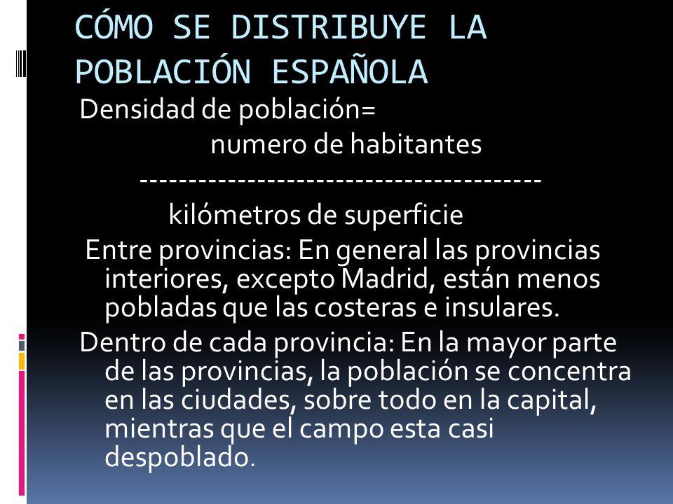 CÓMO SE DISTRIBUYE LA POBLACIÓN ESPAÑOLA Densidad de población= numero de habitantes ----------------------------------------- kilómetros de superficie Entre provincias: En general las provincias interiores, excepto Madrid, están menos pobladas que las costeras e insulares.