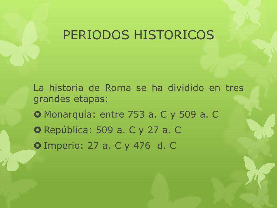 PERIODOS HISTORICOS La historia de Roma se ha dividido en tres grandes etapas:  Monarquía: entre 753 a.