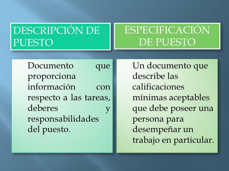 DESCRIPCIÓN DE PUESTO ESPECIFICACIÓN DE PUESTO  Documento que proporciona información con respecto a las tareas, deberes y responsabilidades del puesto.