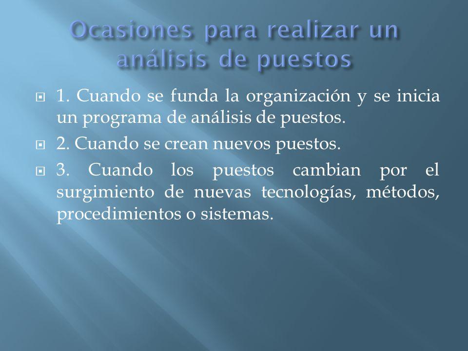  1.Cuando se funda la organización y se inicia un programa de análisis de puestos.
