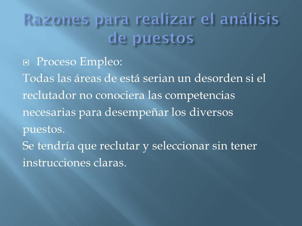  Proceso Empleo: Todas las áreas de está serian un desorden si el reclutador no conociera las competencias necesarias para desempeñar los diversos puestos.