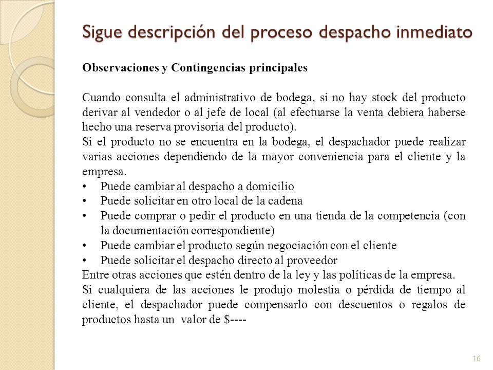 Sigue descripción del proceso despacho inmediato 16 Observaciones y Contingencias principales Cuando consulta el administrativo de bodega, si no hay s