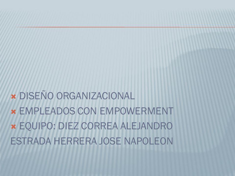  DISEÑO ORGANIZACIONAL  EMPLEADOS CON EMPOWERMENT  EQUIPO: DIEZ CORREA ALEJANDRO ESTRADA HERRERA JOSE NAPOLEON