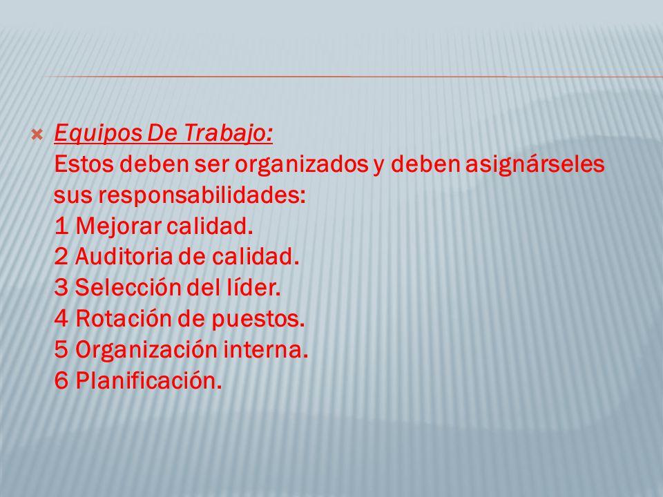  Equipos De Trabajo: Estos deben ser organizados y deben asignárseles sus responsabilidades: 1 Mejorar calidad.