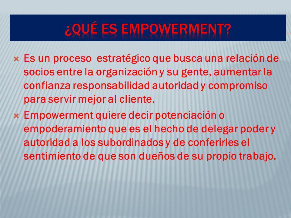 Empowerment es una herramienta de la calidad total que en los modelos de mejora continua y reingeniería, así como en las empresas ampliadas provee de elementos para fortalecer los procesos que llevan a las empresas a su desarrollo.