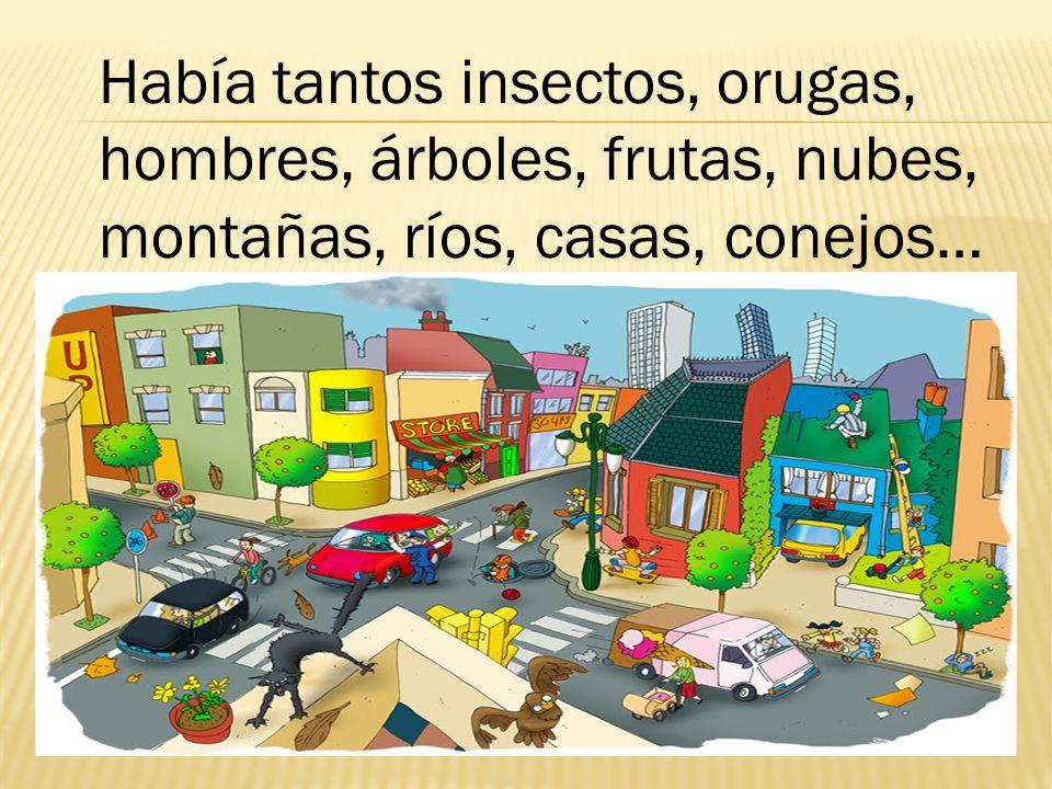 Me quedaba mirando los insectos,las flores, las frutas, las orugas, los hombres, los árboles, las nubes, los conejos, el sol, los ríos, las casas, las montañas.