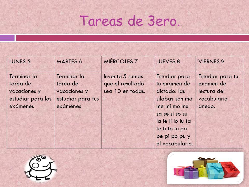 Vocabulario 3º preescolar español.