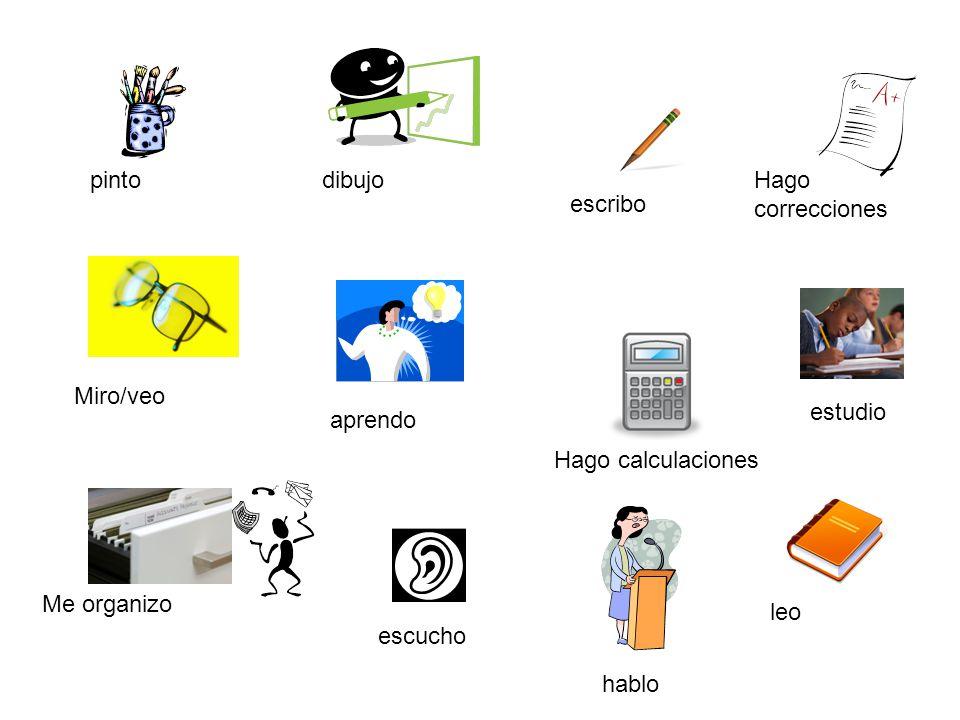 escribo leo Miro/veo Hago calculaciones pinto estudio Hago correcciones Me organizo dibujo aprendo escucho hablo