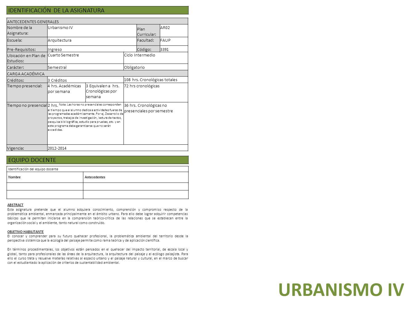 LÍNEA DE URBANISMO URBANISMO. EQUIPO DOCENTE URBANISMO III ...