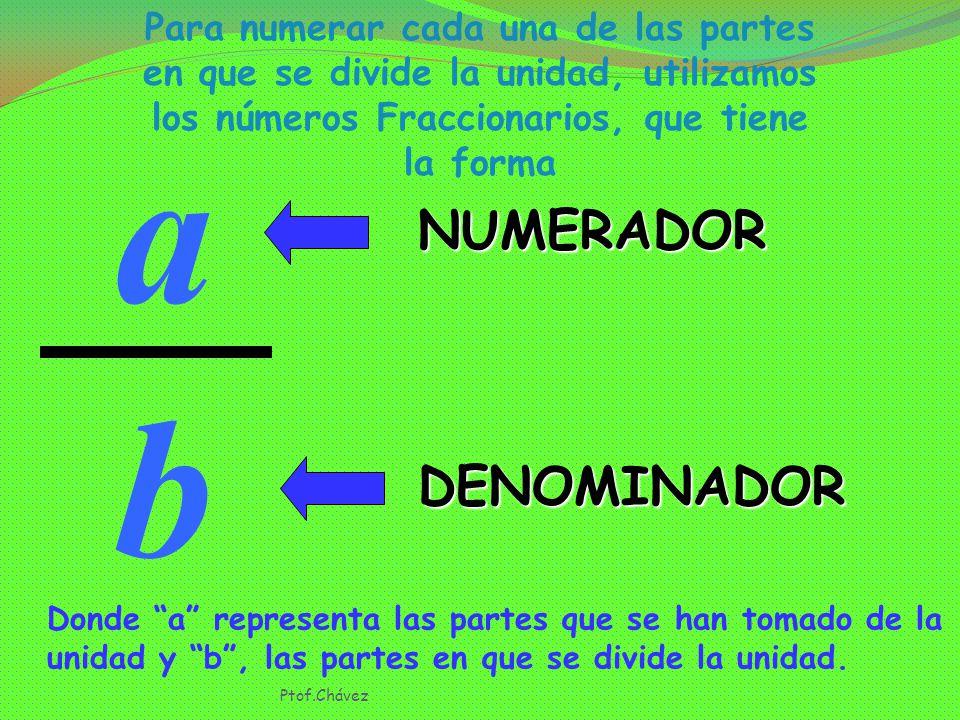 Para numerar cada una de las partes en que se divide la unidad, utilizamos los números Fraccionarios, que tiene la forma a b NUMERADOR DENOMINADOR Donde a representa las partes que se han tomado de la unidad y b , las partes en que se divide la unidad.